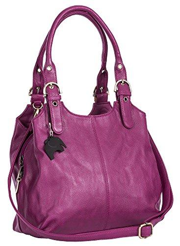 BHBS Bolso Mediano para Dama con Correa Larga para Hombro 33x26x13 cm (LxAxP) Violett Lila (Plain S105)