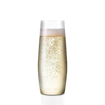 dc91eae4b73 Spakon 8 oz Flute - Stemless Plastic Champagne Flutes Glasses - Dishwasher  Safe - Set of 4 - Unbreakable, Recyclable, Shatterproof