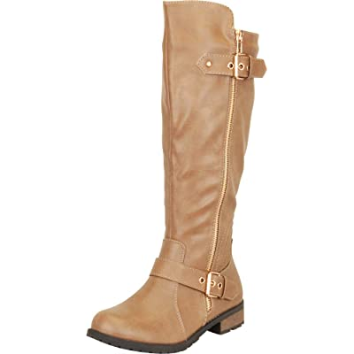 Cambridge Select Women's Round Toe Strappy Buckle Moto Low Heel Mid-Calf Boot | Mid-Calf