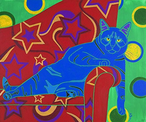 Vixen Cat Art Print - Tabby Cat Pop Art MATTED Print by Angela Bond