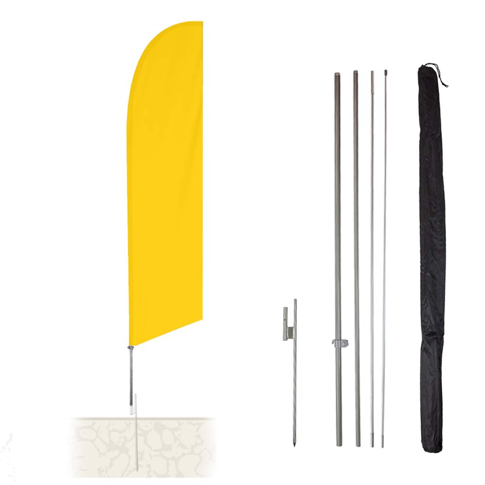 Vispronet - Solid Plain Yellow 13.5ft Feather Banner Flag Kit – Knitted Polyester Swooper Pole Kit with Teardrop Flag, Pole Set, and Ground Spike – Flag Dyed in The USA