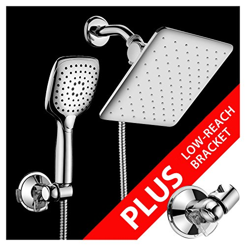 HotelSpa 10.5-in Rain Shower Head / Handheld Combo. Convenient Push-Button Flow Control Button for easy one-handed operation. Switch flow settings with the same hand! Low-Reach Bracket included