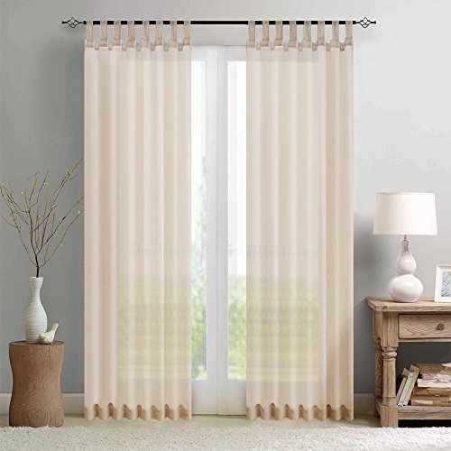 Sheer Curtains for Bedroom 108 inch Length Sheer Voile Panels Tab Top Window Curtains with 2 Tiebacks, 2 Panels, Nature