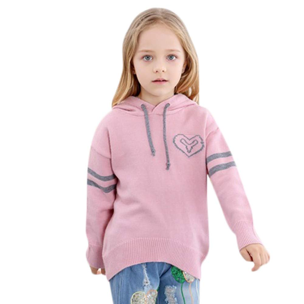 DIGOOD Teen Baby Girls Boys Winter Warm Pullover Clothes,Love Heart Knitted Hooded Sweater Long Sleeve Tops