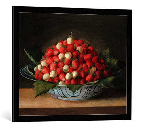 kunst für alle Framed Art Print: Sebastian Stosskopf Bowl with Strawberries - Decorative Fine Art Poster, Picture with Frame, 29.5x23.6 inch / 75x60 cm, Black/Edge Grey