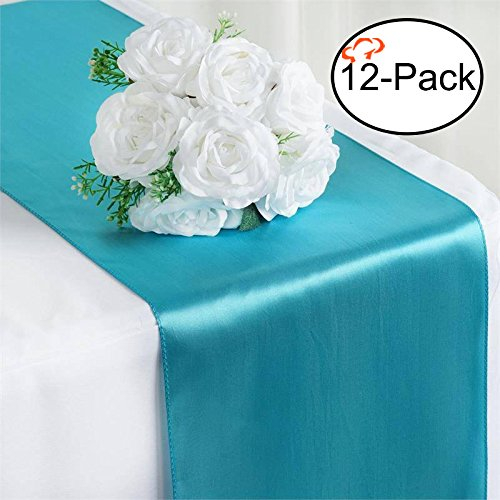 Tiger Chef 12-Pack Turquoise 12 x 108 inches Long Satin Table Runner for Wedding, Table Runners fit Rectange and Round Table Decorations for Birthday Parties, Banquets, Graduations, Engagements -