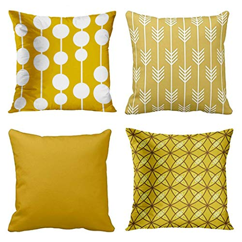 (Emvency Set of 4 Throw Pillow Covers Mid Century Modern Mustard Yellow Arrow Fletching Pattern Olid Color Decorative Pillow Cases Home Decor Square 20x20 Inches Pillowcases)
