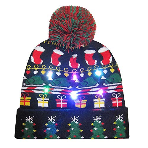 Merry Christmas LED Light-up Knit Hat Beanie Hairball Warm Cap Gifts (F) ()