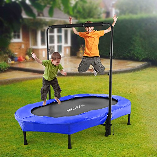 ANCHEER Rebounder Trampoline, Foldable Exercise Trampoline with Adjustable Handrail for Adults Kids, Parent-Child Mini Trampoline for Two Kids ( 37.8