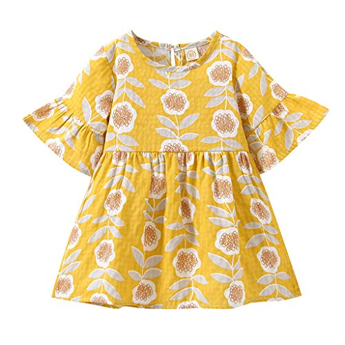 Qpika Toddler Baby Cute Girls 3/4 Sleeves Printing Tulle Floral Party Princess Dresses -
