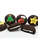 Philadelphia Candies Dark Chocolate Covered OREO Cookies, Christmas Greeting Assortment 8 Ounce