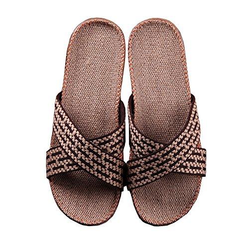 Pantofola Unisex Open-toe Di Lino, Ciabattine Domestiche, Sandali Da Casa Per Cross Leggero Traspirante Leggero Estivo