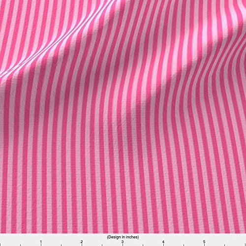 Spoonflower Mittenstripe Fabric Pink Lemonade Stripes by Weavingmajor Printed on Organic Cotton Knit Ultra Fabric by the (Stripes Lemonade)