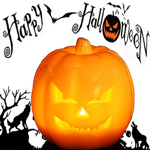 Jack O' Lantern, Halloween Pumpkin Decor Lantern with Battery Operated & Adjustable Timer Function for Halloween Decorations by HANPURE (Pumpkin Orange)]()