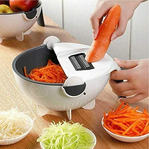 LEIXIN Tronchese 9 in 1 Magic Ruota The Vegetable con Scarico Basket Multifunzionale della Cucina della Frutta Shredder