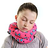BCOZZY Kids Chin Supporting Travel Neck Pillow - Supports the Head, Neck and Chin in Maximum Comfort in Any Sitting Position. A Patented Product. Child Size, Turquoise Hearts