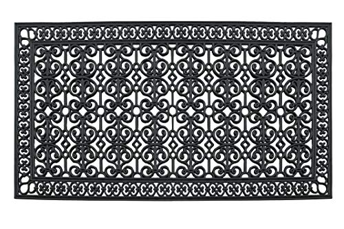 (A1 Home Collections A1HCCL68 Doormat A1HC First Impression Rubber Paisley, Beautifully Hand Finished,Thick, 36X72, Black Estate 36