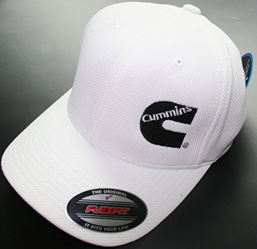 Dodge Cummins Truckers Mesh Summer Cummings Hat White Cap Fitted Flex Moisture Wicking