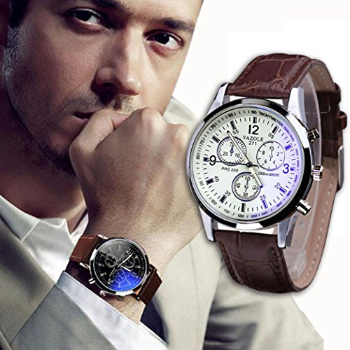 Han Shi Quartz Analog Watches, Fashion Mens Bussiness Luxury Faux Leather Ray Glass Wristwatch (A, - Ray Glasses Band