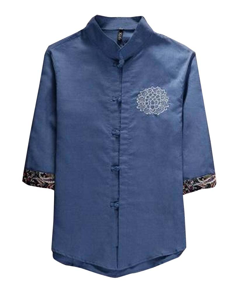 Bordado Hombre Verano Camiseta Lino Tang traje: Amazon.es ...