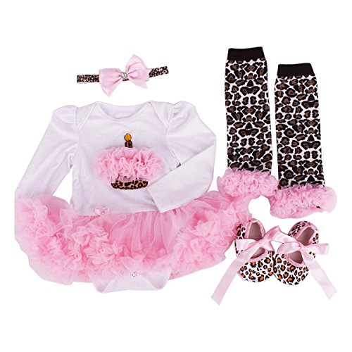 Baby Girls 4 Piece Sets Romper Dress Outfits Clothes Leopard Cake M:3-6Months (4 Leopard)