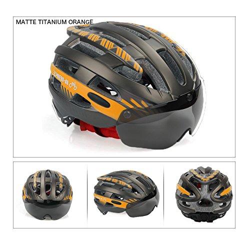 "V-Best Bike Cycling Helmet with Detachable Magnetic Goggles Visor Shield Adjustable Men Women Road & Mountain Biking Bicycle Helmet Safety Protection (Titanium Orange, L(22""-24""))"