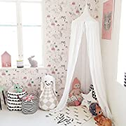 Springbuds Princess Bed Canopy Mosquito Net for Kids Baby Crib, Round Dome Children Castle Play Tent Hanging House Decoration Reading nook Cotton Canvas-Height 95in White