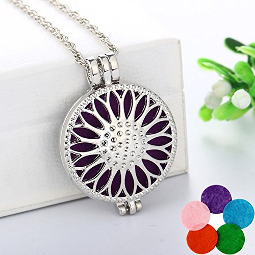 Aromatherapy Necklace gLoaSublim,Women's Round Sunflower Aromatherapy Essential Oil Diffuser Locket Necklace
