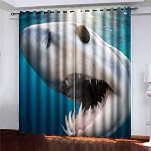 Shorping 52X84 Inch Beautiful Sheer Window Curtains Blackout Window Curtain Panel Shark Diving in The Sea of with Coast Cabo San Mexico a Mako Lucas Blackout Window Curtain for Bedroom, 2 Pc
