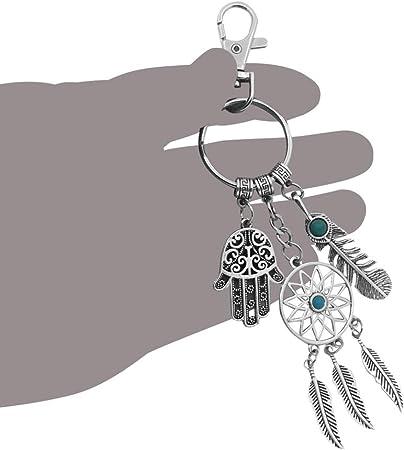 silver tone Keychain Dream Catcher key ring Hamsa Hand feathers quartz crystal arrows