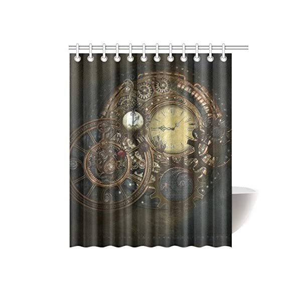 Happy More Custom Steampunk Clocks And Gears Bathroom Waterproof Fabric 60x72 inch Shower Curtain 3