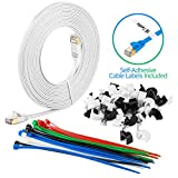 Maximm Cat7 Flat Ethernet Cable 20 Feet - White, Pure Copper - RJ45 Gold-plated Connectors. 600 MHz.