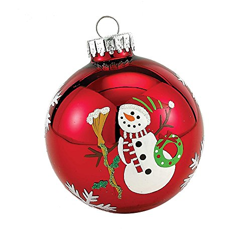 Kurt Adler Glass Snowman Ball Ornament, 65mm, Set of 4