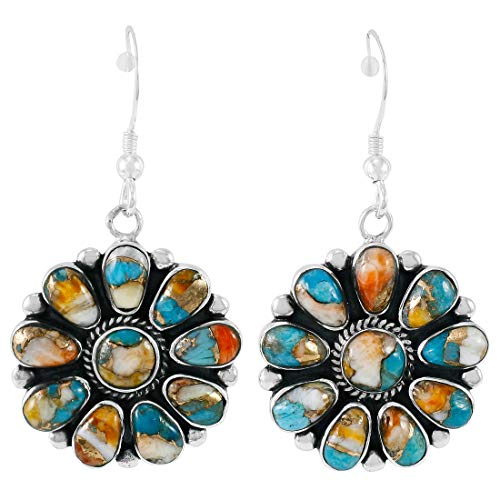 - Spiny Turquoise Earrings 925 Sterling Silver & Genuine Turquoise (Spiny Turquoise)