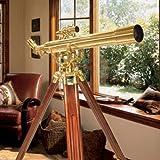 BARSKA Anchormaster 28x60m Brass Refractor Telescope w/ Mahogany Floor Tripod