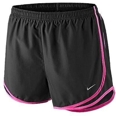 Nike Womens Running Tempo Track Shorts Black/Black/Pink Pow/Matte Silver, Medium