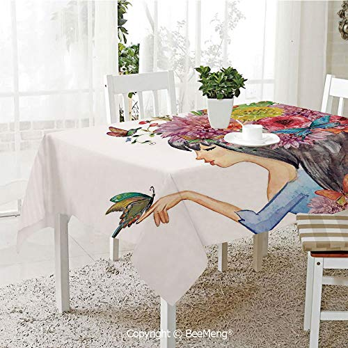 Large dustproof Waterproof Tablecloth,Family Table Decoration,Watercolor Flower,Floral Head Cute Girl Holding Butterfly Romantic Feminine Spring Symbole Art Print,Multi,70 x 104 inches