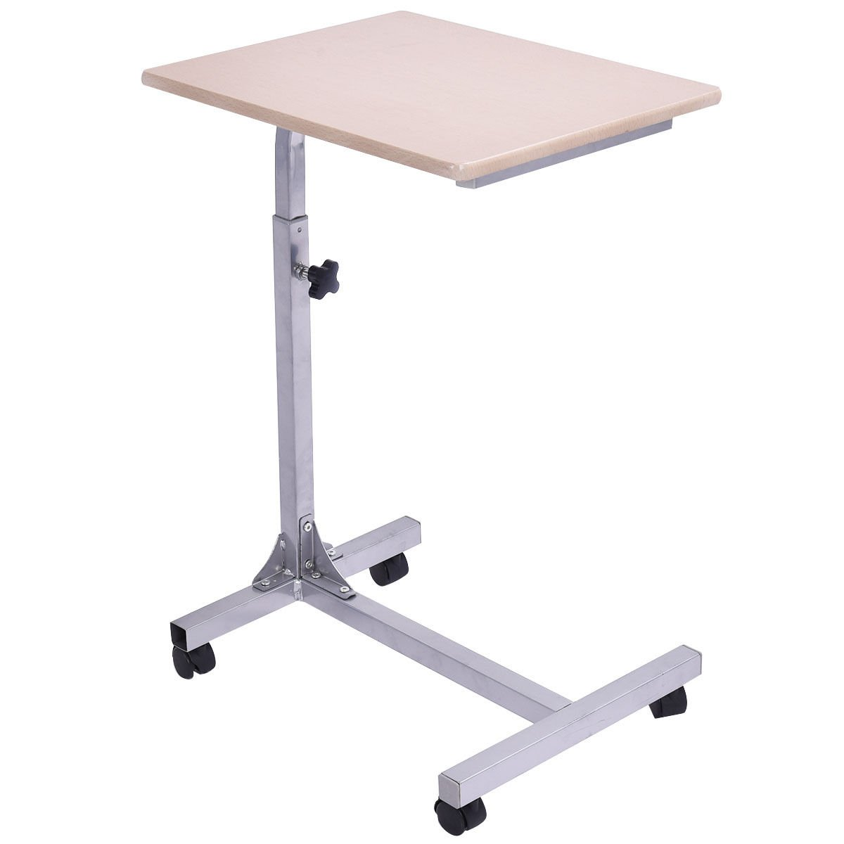 Tangkula Laptop Table Classic Rolling Cart Wooden Top and Metal Frame Home Office Studio Dormitory Snack Table Adjustable Height Over-bed Desk Computer Cart Desk