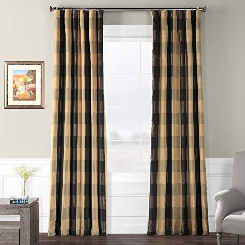 Silk Drapes Plaid (Pts-SLK10A-96 Faux Silk Plaid Curtain, 50 x 96, Suffolk)