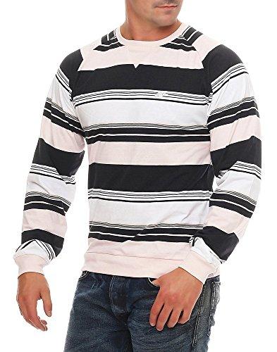 Nike Fusion Yarn Dyed Striped Herren Crew Neck, Schwarz/Hellrosa/Weiß, XL