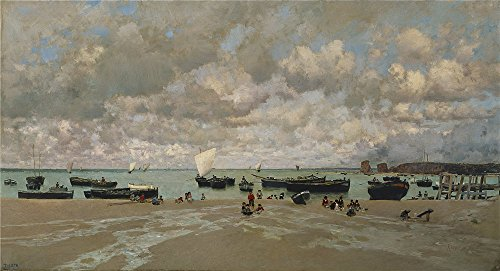 Oil Painting 'Rico Y Ortega Martin The Mouth Of The Bidasoa River 1872 ' Printing On Perfect Effect Canvas , 16 X 30 Inch / 41 X 75 Cm ,the Best Bar Decoration And Home Decor And Gifts Is This Beautiful Art Decorative Prints On