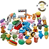 Geefia Animal Pencil Erasers, 40 Pcs Collectible Animals Food Fruits Pencil Erasers Puzzle Toys Best for Party Favors, Classroom Rewards School Supplies