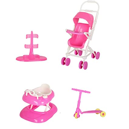 Accesorios para muñecas Set Toy Doll Accesorios para muñecas con Cochecito de bebé Walker Scooter Doll