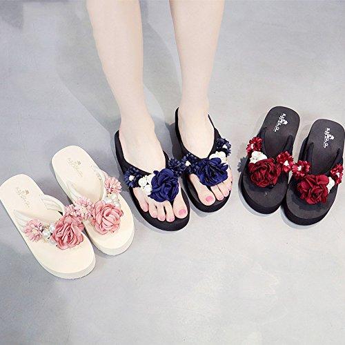 moda 02 5 Platform CN Scarpe Sandali 5 femminile Sandali da UK4 facoltativo Estate Heel estiva dimensioni Sweet Slope Flowers Slippers formato 01 antiscivolo spiaggia EU37 Colore Colore XIAOLIN Cpwqtn47