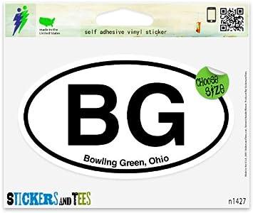 """BG Bowling Green Ohio Oval car window bumper sticker decal 5/"""" x 3/"""""""