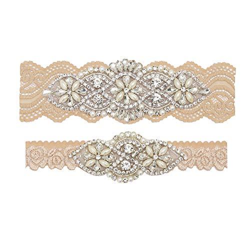 yanstar Wedding Bridal Garter Champagne Stretch Lace Bridal Garter Sets with Silver Rhinestones Clear Crystal Pearl for Wedding