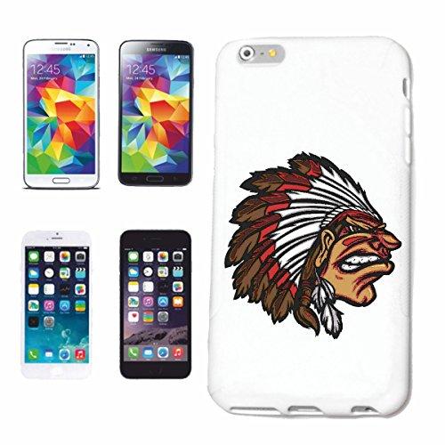 """cas de téléphone iPhone 7S """"INDIAN AVEC CASQUE ET SPRINGS INDIENS Red Chief WESTERN INDIENS"""" Hard Case Cover Téléphone Covers Smart Cover pour Apple iPhone en blanc"""