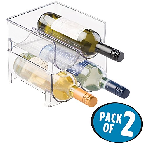 mDesign Stackable Wine Bottle Storage Rack for Kitchen Cabinet, Countertops - Holds 4 Bottles, Clear (Wine Rack For Fridge)