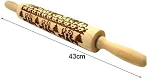435cm Christmas Embossing Rolling Pin Baking Cookies Noodle Biscuit Fondant Cake Dough Engraved Roller Reindeer Snowflake - Christmas Wooden Rolling Pins