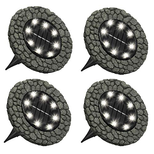Bell+Howell Disk Lights Stone - Heavy Duty Outdoor Solar Pathway Lights - 8 LED, Auto On/Off, Water Resistant, with Included Stakes, for Garden, Yard, Patio and Lawn -As Seen on TV
